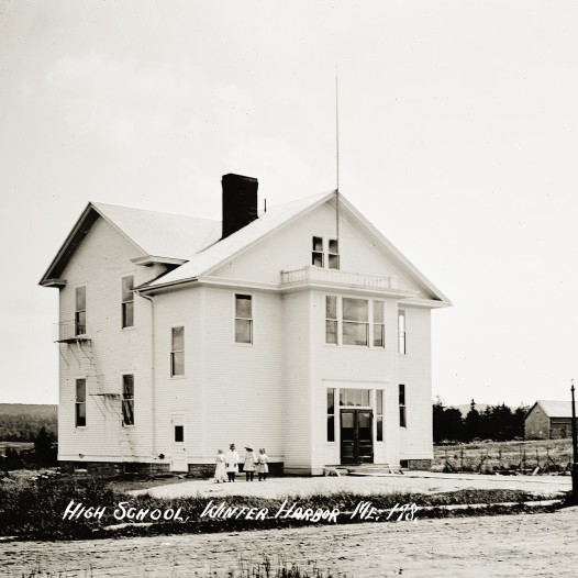 historic photo of former Winter Harbor High School and Town Office, now Schoodic ARts for All Artist Incubator