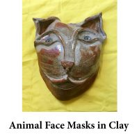 Animal Face Masks in Clay for page