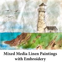 Mixed Media Linen Paintings with EmbroideryMixed Media Linen Paintings with Embroidery for page