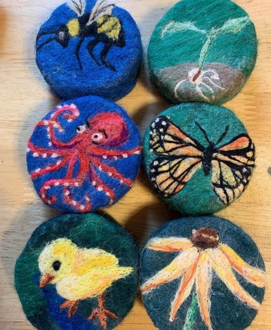 Wool Painting on Felted Soap
